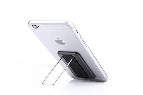 Nützliches 2-in-1-Accessoire für Ihr Smartphone: Aufklebbarer Halter/Ständer für Smartphone/Handy - Perfekter Halt - kein Verrutschen mehr - Schlaufe für Finger - Bequem Filme schauen (Schwarz)
