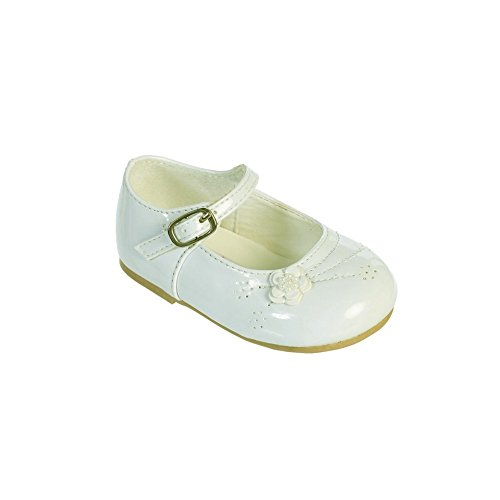 Little Girls Ivory Flower Applique Patent Leather Mary Jane Shoes 7 Toddler