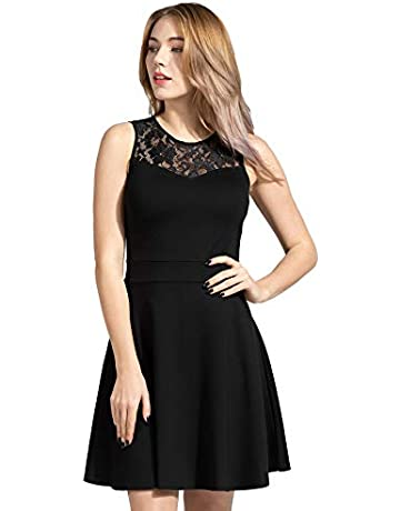 edd430c1 Sylvestidoso Women's A-Line Pleated Sleeveless Little Cocktail Party Dress  with Floral Lace