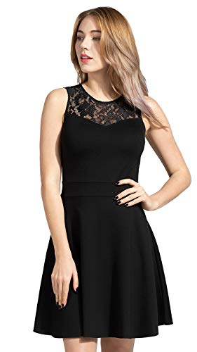 Sylvestidoso Women's A-Line Sleeveless Pleated Little Black Cocktail Party Dress with Floral Lace (S, Black) -
