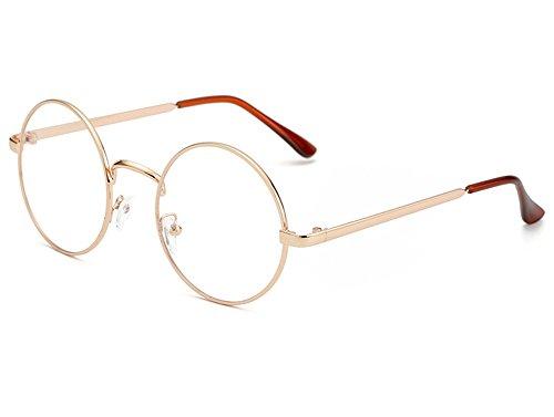 Bonvince Non-Prescription Round Circle Frame Clear Lens Glasses Rose - Prescription Non Designer Glasses