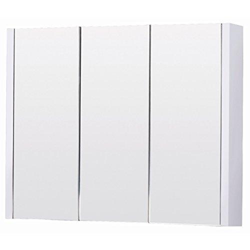 Nuie BB.MIRC90 Sphinx/Sobek Bathroom Wall Mounted 3 Door Storage Mirror Cabinet Furniture -