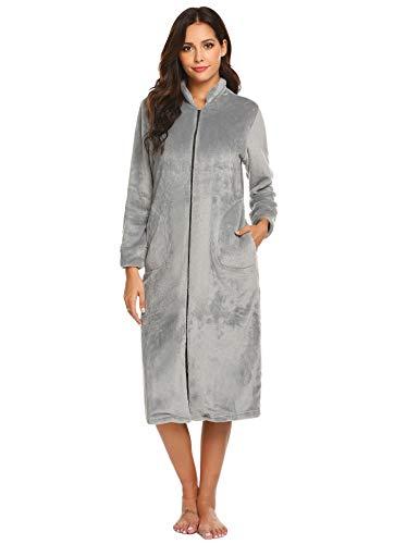 Ekouaer Womens Slim Fit Zip-Front Fleece Robe, Zipper Bathrobe Grey Small (Fleece Bathrobe Zipper)