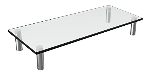 Husky Mounts Computer Monitor Riser Desktop Monitor Stand 22 X 9.5 Inch Thick Tempered Clear Plate Glass. 3