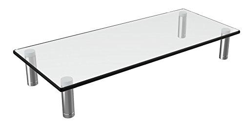"Husky Mounts Computer Monitor Riser Desktop monitor Stand 22 X 9.5 Inch Thick Tempered Clear Plate Glass. 3""- 3 3/4"" Adjustable height Aluminum Legs Desk shelf Laptop TV Riser Elegant Modern Design."