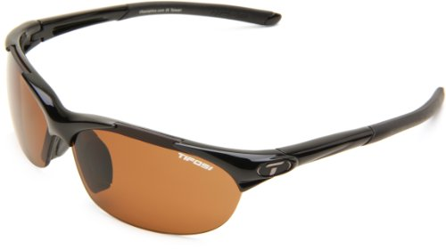 Tifosi Core Polarized Sunglasses - Tifosi Wisp 0040500250 Polarized Wrap Sunglasses,Gloss Black Frame/Brown Lens,One Size