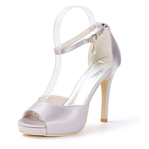 L Heels Party High Sandalen Herbst Peep 11cm Schnallen Frauen Abend Heels Prom Satin YC Gray Plattform Formale Toe rqpPXrw