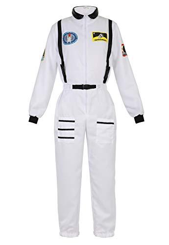 Haorugut Women's Astronaut Adult Space Costume Plus Size Flight Suit Astronaut Jumpsuit Fancy Dress Up Costumes White 2XL