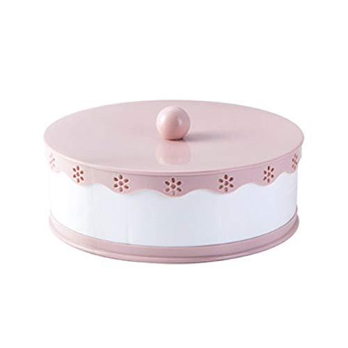 Xigeapg Party Snacks Serving Tray with Lid Multi Sectional Snack Bowls Snack Container Box for Storing Dried Fruits Nuts Candie Pink