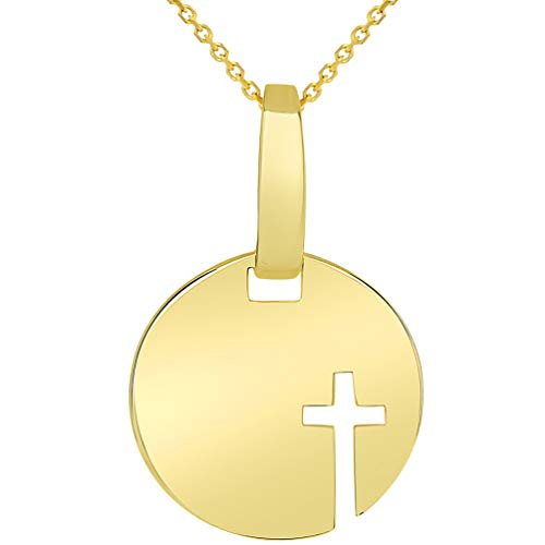 14k Yellow Gold Small Disc Cut Out Religious Cross Medallion Pendant Necklace, 18