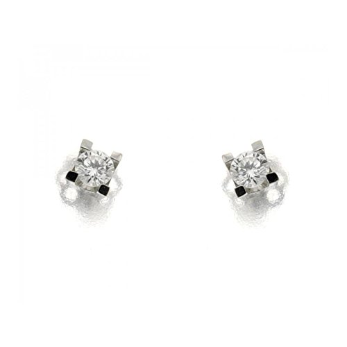Boucles d'oreilles diamants taille brillant lumière ORECCH20 Femme Or Blanc Diamant