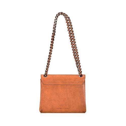 Maxwell Scott handgjord dam läder Chain Bag handväska Perano i matt cognac brun