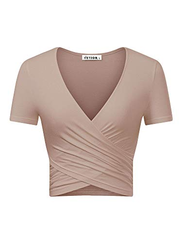 VETIOR Women's Deep V Neck Short Sleeve Unique Cross Wrap Slim Fit Crop Tops (Medium, - Neck Ballet Shirt