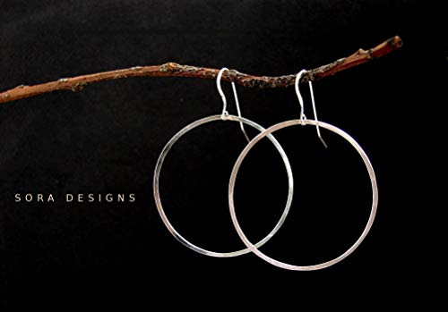 (Large Silver Hoop earrings, simple Hoop everyday sterling silver earrings - hammered sterling silver hoops)
