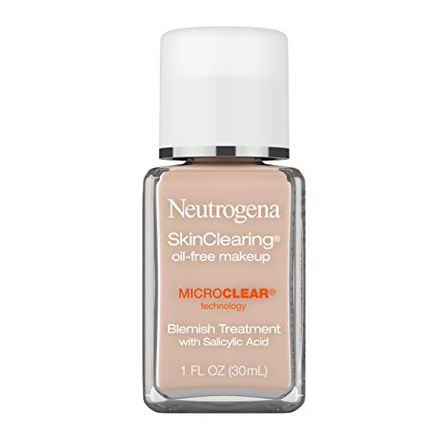 Neutrogena SkinClearing Oil-Free Acne and Blemish Fighting Liquid Foundation with Salicylic Acid Acne Medicine, Shine Controlling, for Acne Prone Skin, 20 Natural Ivory, 1 fl. oz