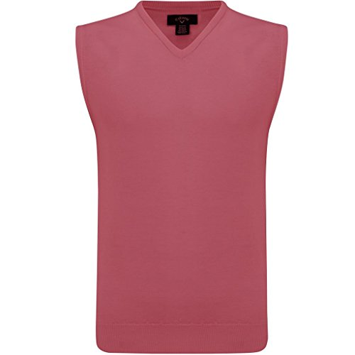Wool V-neck Golf - Callaway 2018 Mens Merino Wool V-Neck Golf Sweater Vest Raspberry Medium
