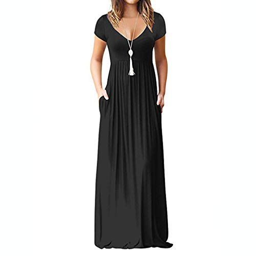 Women's Casual Sleeve V-Neck Solid Maxi Tank Long Dress ()