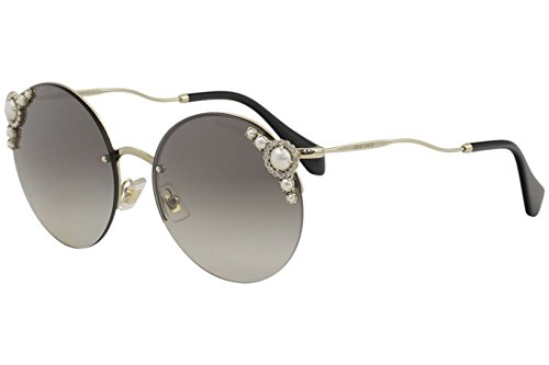 - Miu Miu Women's Round Imitation Pearl Sunglasses, Pale Gold/Grey Silver, One Size