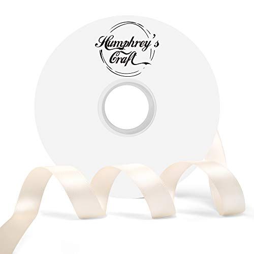 (Humphrey's Craft 5/8-inch Double Face Solid Satin Ribbon 100% Polyester Ribbon Roll-50 Yard (Ivory))