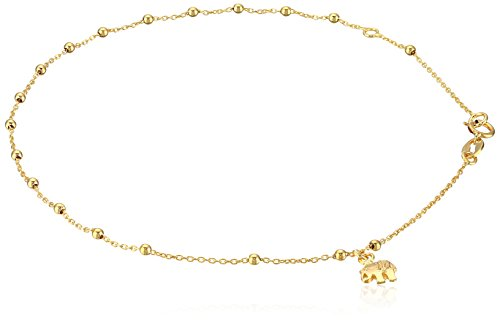 14k Yellow Gold Italian Station Beaded Elephant Charm Anklet, 9""