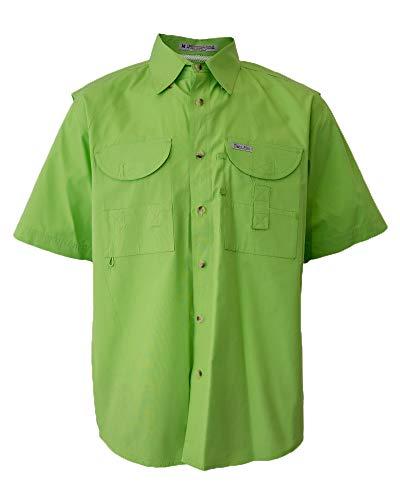 Tiger Hill Men's Fishing Shirt Short Sleeves Lime Green ()