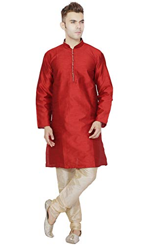 SKAVIJ Men's Tunic Art Silk Tunic Kurta Pajama Set Wedding Dress (Large, Red)