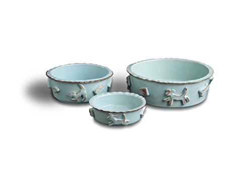 Carmel Ceramica PDLB3002 Dog Food/Water Bowl, Baby Blue, (Green Ceramic Water Fountain)