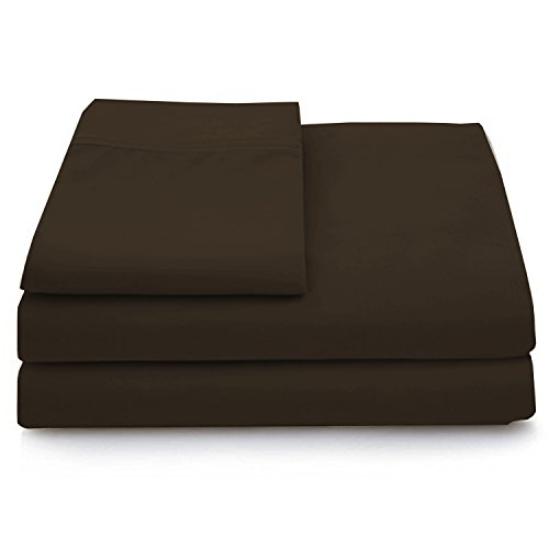 Cosy House Collection Luxury Bamboo Bed Sheet Set - Hypoallergenic Bedding Blend from Natural Bamboo Fiber - Resists Wrinkles - 4 Piece - 1 Fitted Sheet, 1 Flat, 2 Pillowcases - Fitted Sheet Chocolate