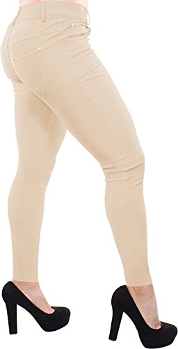 Enimay Women's Colored Jean Look Jeggings Tights Spandex Leggings Yoga Pants Camel XXX-Large
