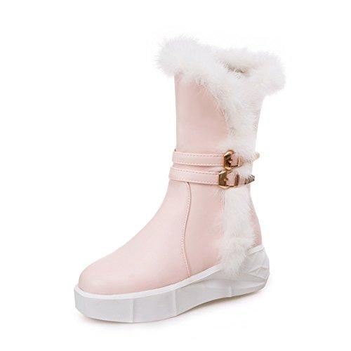 Btrada Snowboots Voor Dames Hak Enkellaarzen Dikke Hak Laars Konijnenbont Roze