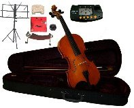 Merano 15.5'' Student Viola with Case and Bow+Extra Set of Strings, Extra Bridge, Shoulder Rest, Rosin, Metro Tuner, Black Music Stand, Mute by Merano