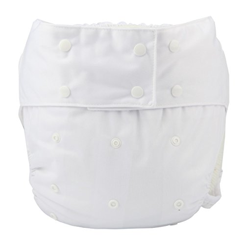 Sigzagor Teen Adult Cloth Diaper Nappy Reusable Washable For Disability Incontinence (White)