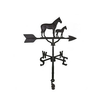 Montague Metal Products 32-Inch Weathervane with Satin Black Mare and Colt Ornament
