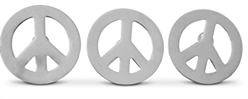 Theater Costume Jewelry (3-Piece Silver-Tone Peace Sign Lapel or Hat Pin & Tie Tack Set with Clutch Back by Novel Merk)