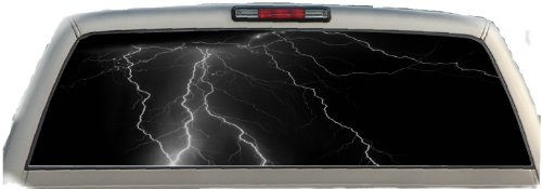 Crabtree Signs Lightning- Black- 17 Inches-by-56 Inches- Compact Pickup Truck- Rear Window Graphics - Lightning Window Graphic