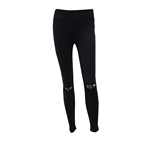 iLUGU Womens Ripped Yoga Leggings Trousers Gym Work Out Pants Sports Fitness Running Exercise Yoga Faded Glory Black