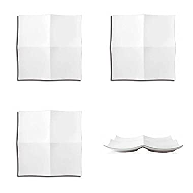4 FOH 12  Origami Curved Square Plate DOS019WHP21 Wholesale Bulk Lot Asian Sushi