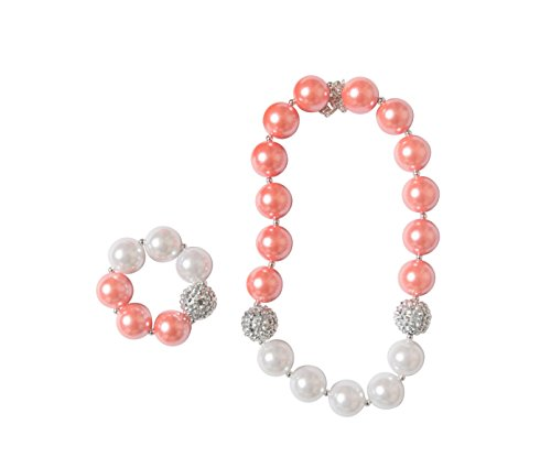 Bubble Coral Red (La Bella Rose Boutique Bubblegum Necklace set (Coral & White))