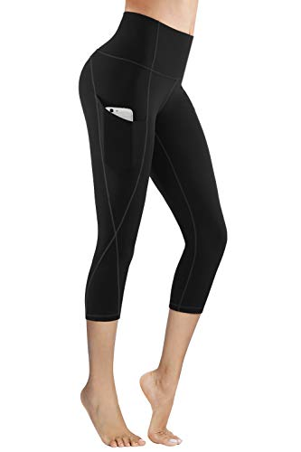 PHISOCKAT High Waist Capris Yoga Pants with Pockets, Tummy Control 4 Way Stretch Women Yoga Leggings with 3 Pockets (Large)