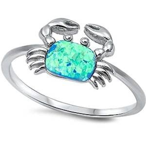 (Blue Fire Opal Crab .925 Sterling Silver Ring Size 5)