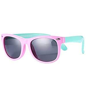 Pro Acme TPEE Rubber Flexible Kids Polarized Wayfarer Sunglasses for Baby and Children Age 3-10 (Pink)