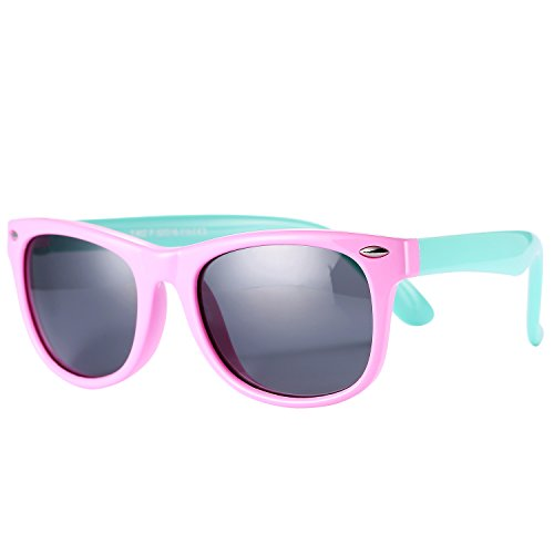 Pro Acme TPEE Rubber Flexible Polarized Wayfarer Sunglasses (Pink Frame/Black Lens/54) by Pro Acme