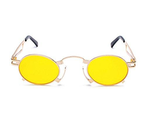 marco Gafas góticas de sol de Oro Amarillo del de reflexivas vendimia marco coloridas clásica UV400 la Steampunk ovaladas de wnggqtrE0