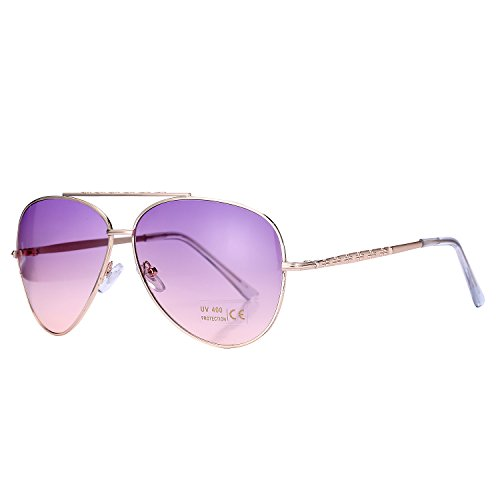 Pro Acme Aviator Style Sunglasses with Metal Frame Gradient Colored Lens UV400 Protection (Gold Frame/Purple Pink - Gradient Sunglasses Cheap