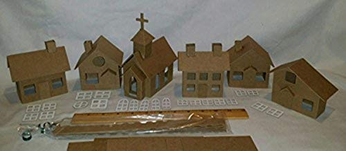 Putz Style DIY Cardboard Houses- Village Set of 5 Houses & 1 Church]()