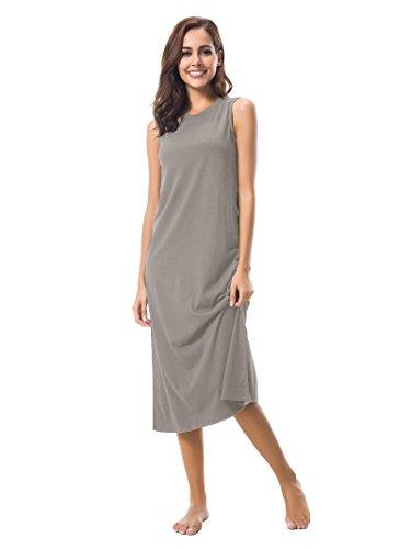 SIORO Nightgowns Women Long Soft Cotton Sleepwear Sleeveless Sleep Shirts Ladies Pajamas Wear Around Nightshirt Dusk (100 Cotton Sleeveless)