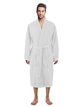 100% Luxurious Turkish Cotton Waffle Diamond Pattern Kimono Spa Bathrobe for Men (White, Small)