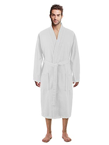 100% Luxurious Turkish Cotton Waffle Diamond Pattern Kimono Spa Bathrobe for Men (White, XX-Large)
