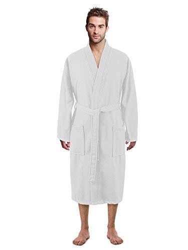 100% Luxurious Turkish Cotton Waffle Diamond Pattern Kimono Spa Bathrobe for Men (White, Large)