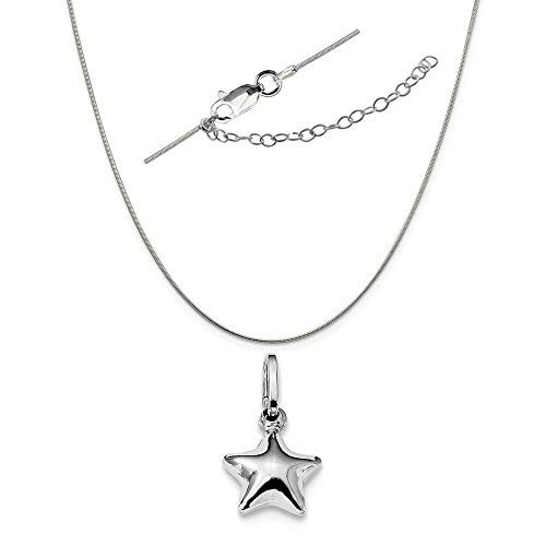 Sterling Silver Anti-Tarnish Treated Polished Puffed Star Charm on a Snake Chain, 18
